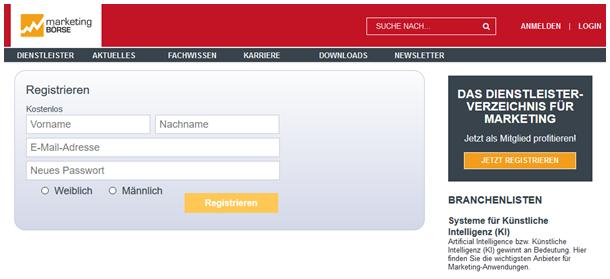 Registrierung auf der marketing-BÖRSE